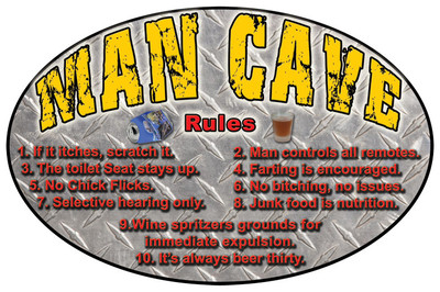 "Rivers Edge Tin Sign, ""Man Cave Rules"""
