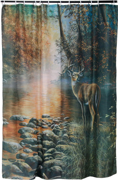 Rivers Edge Shower Curtain, Deer