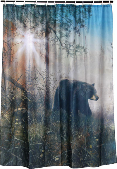 Rivers Edge Shower Curtain, Bear