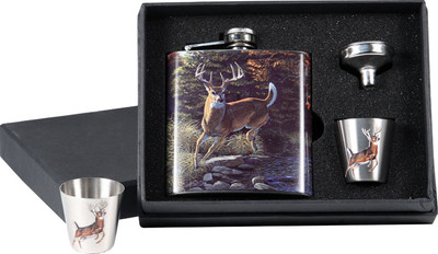Rivers Edge Deer Flask With Shot Glass