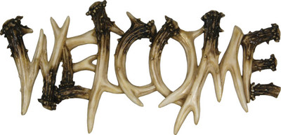 "Rivers Edge ""Welcome"" Deer Antler Plaque"