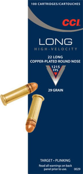 CCI 22 Long, 29 Gr Copper-Plated RN, 100 ct