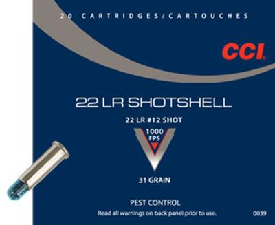 CCI Shotshell, 22 LR, #12 Shot