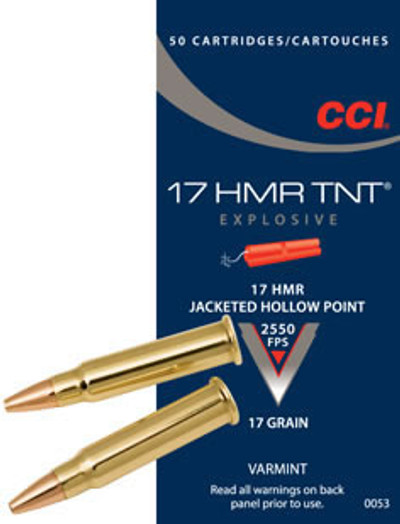 CCI TNT, 17 HMR, 17 Gr Jacketed Hollow Point Tip, 50 ct