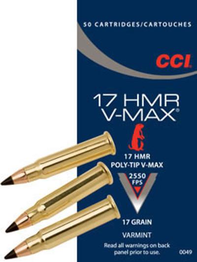 CCI V-Max, 17 HMR, 17 Gr Polymer Tip, 50 ct