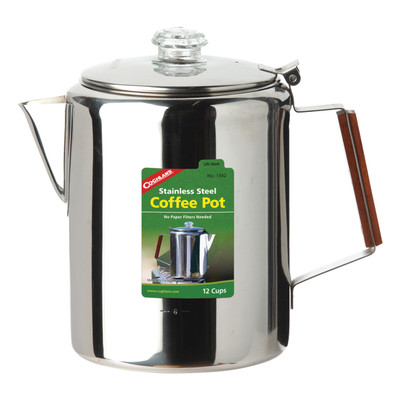 Coghlans Stainless Steel Coffee Pot, 12 Cup