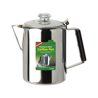 Coghlans Stainless Steel Coffee Pot, 9 Cup