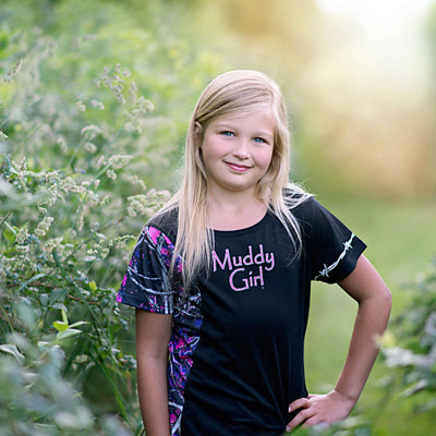 Moonshine Attire Muddy Girl Youth SS Shirt, Black