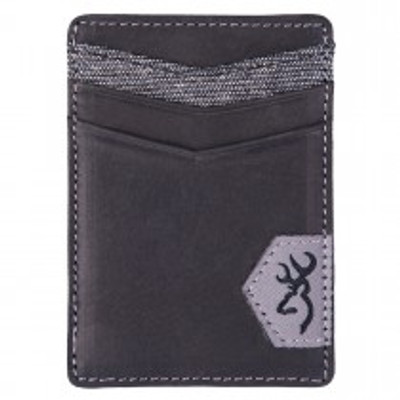 Browning Black Leather Money Clip with Pockets
