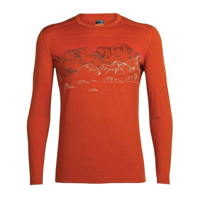 Icebreaker Men's Oasis LS Sky Night Crewe - Copper