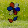 """Flower Spinner - 12"""" Red, White & Blue Sparkle with Leaves"""