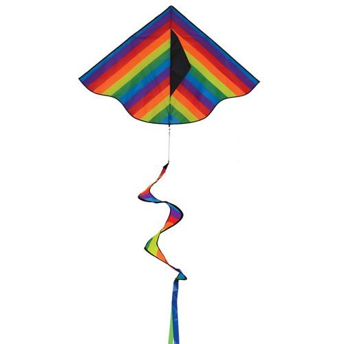 "Delta - 46"" Rainbow Stripe Kite with Spinning Tail"