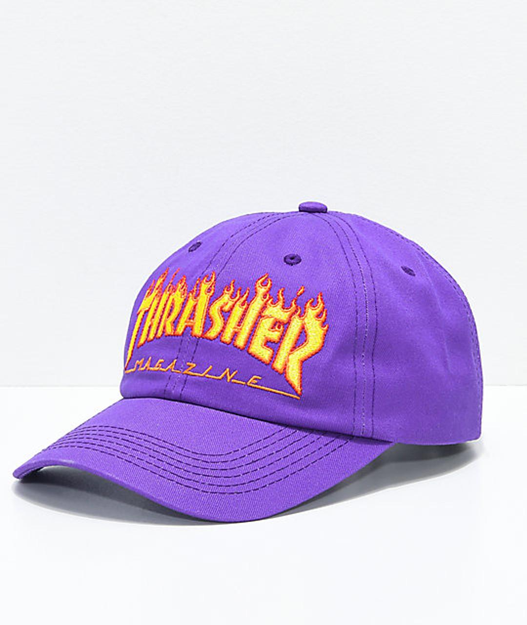 bf93caca76d Thrasher Flame Old Timer Hat Purple Orange Adj