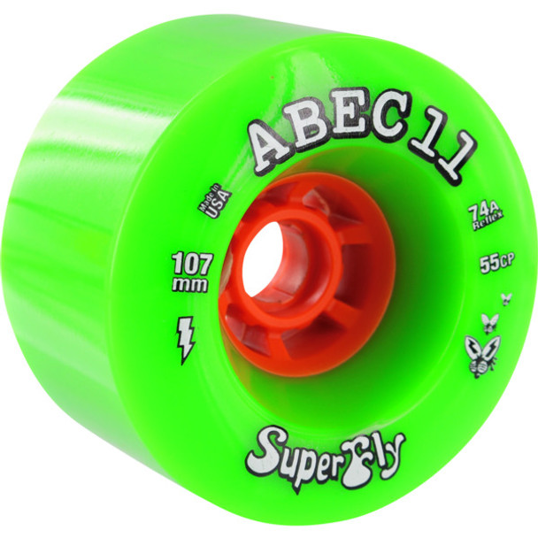 Abec 11 SuperFly Wheels Set Green 107mm/74a  (4 Wheels)