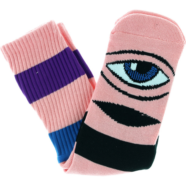 Toy Machine Sect Eye Big Stripe Socks Pink OneSize