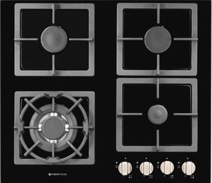 Parmco HO-7-6G-3GW Black Glass Cooktop with Wok Burner