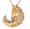 Magic Mane horse head necklace in gold plate with a diamond eye.