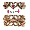 Heart Stacking Ring- Shown with rubies- 18K