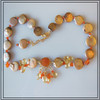 Tan coin pearls with carnelian and citrine.