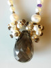 """Smoky briolette with """"stardust"""" clusters on pearls"""