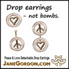 Peace & Love Earrings, Sterling Silver, Solid 18K Gold, with Tiny Diamonds