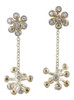 Starburst- fireworks drop earrings, can be made to be worn alone, or with a stud.  Shown here with Fireworks silver studs, together, in silver or white gold.
