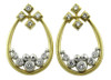 Pyramid tear earrings- in white and yellow gold with diamonds.