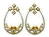 Pyramid tear earrings in silver and gold plate with diamonds.