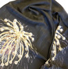 "Silk scarf with Fireworks Superstar pendant as pattern, and the words ""Celebrate Celebrate Celebrate Life is a Celebration"" repeated in the body of the silk. Shown here closer so you can see the message printed softly and subtly in the silk."