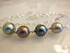 Tahitian Pearls- 4 round on silver chain-necklace