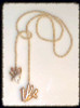 High Five- Two hand shaped pearls on button pearl lariat