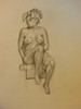 Nude Drawing: Charcoal & pastel on grey paper. 14