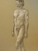 Artist Jane A Gordon drawing- Pastel and charcoal on grey paper. Nude #21