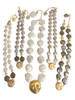 18K Gold Face, Diamond Eyes, Huge coin pearl necklace.  Someone to Watch Over Me-Sun/ Moon Collection