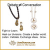 Peace & Love necklace 18k, sterling- silver dots of diamonds karma chain-Vertical Version