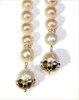 Pearl Lariat-Flower tips in sterling silver or gold plate