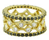 Square stacking rings- 18K gold with diamonds