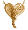Lucky Break heart pendant on chain.  Gold and diamonds heart necklace. Diamonds fall from the broken heart.  On the back the words Lucky Break.  Sometimes not getting what we want is the best of outcomes.