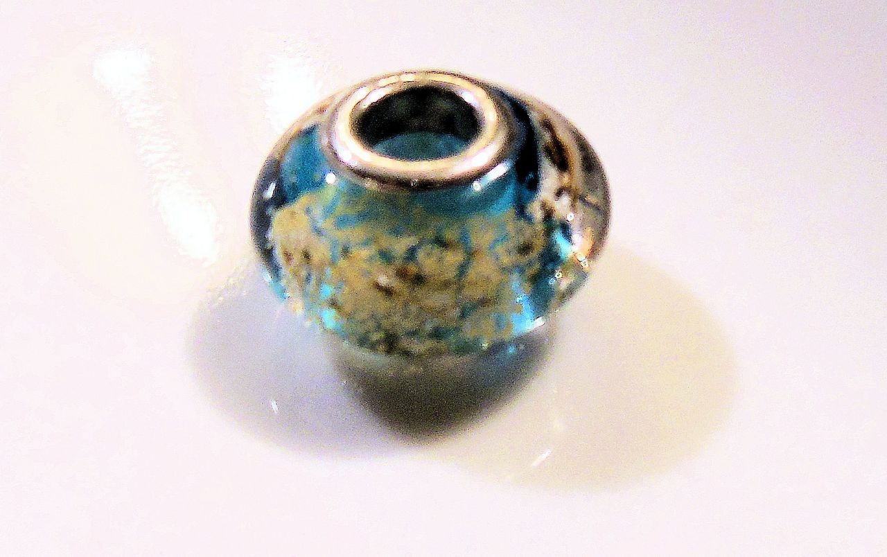 Aqua Murano Glass with gold flakes on sterling silver. Fits Pandora.