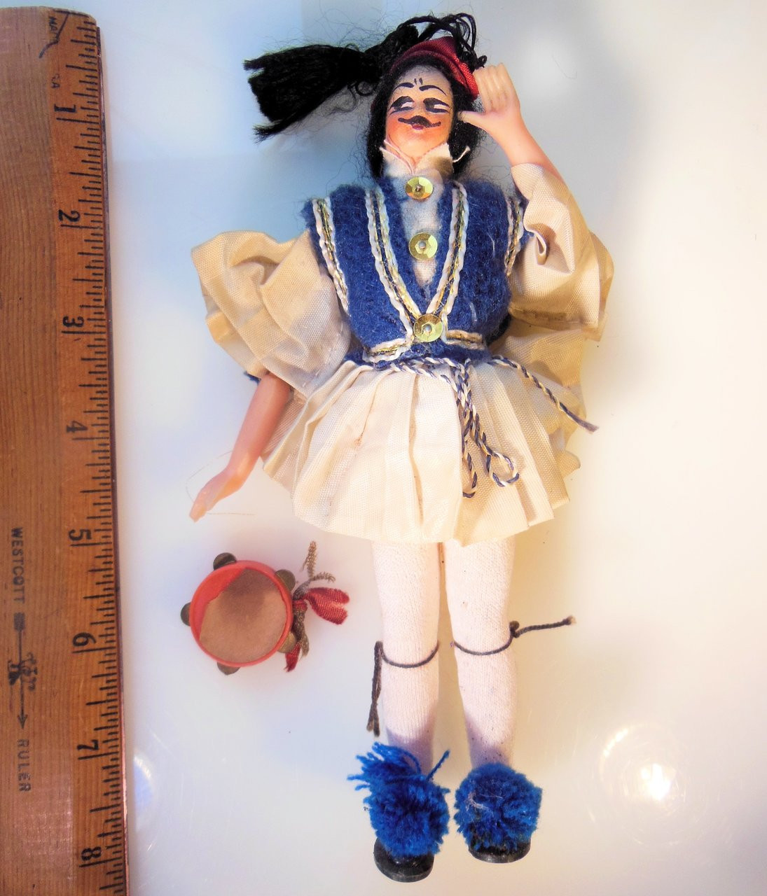 Vintage Greek Souvenir Tsolias Doll: Male Folk Dancer Tambourine Player
