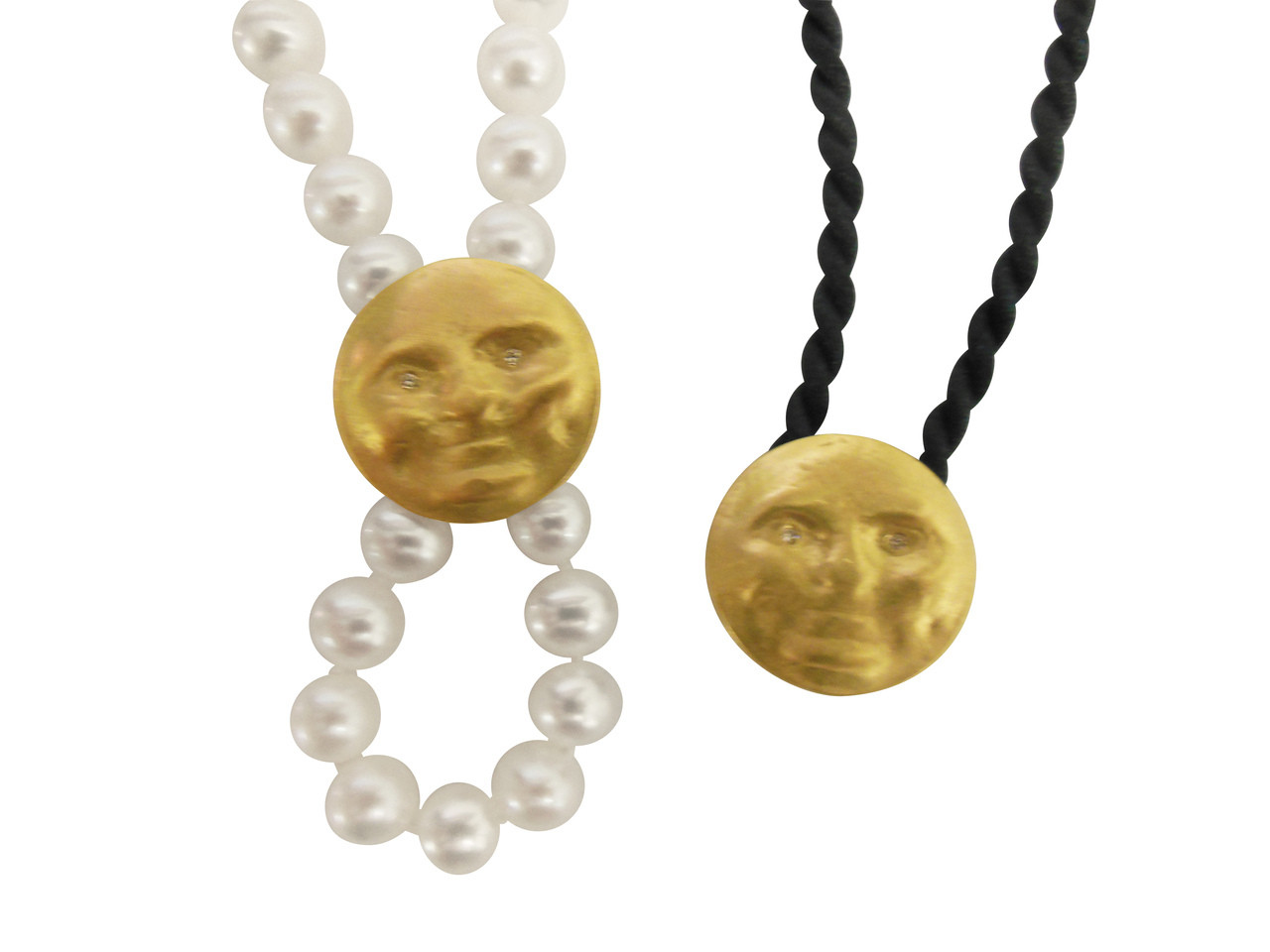 Someone to Watch Over Me-14K gold, diamond eyes Face clip pendant/enhancer