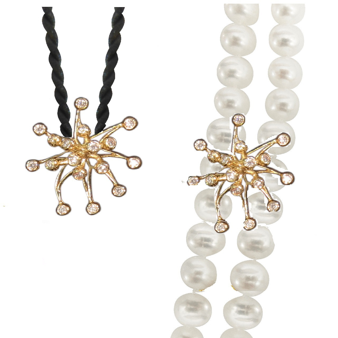 Two of many ways to wear the fireworks pearl enhancer. You can use 2 or 3 cords to color coordinate your outfits.
