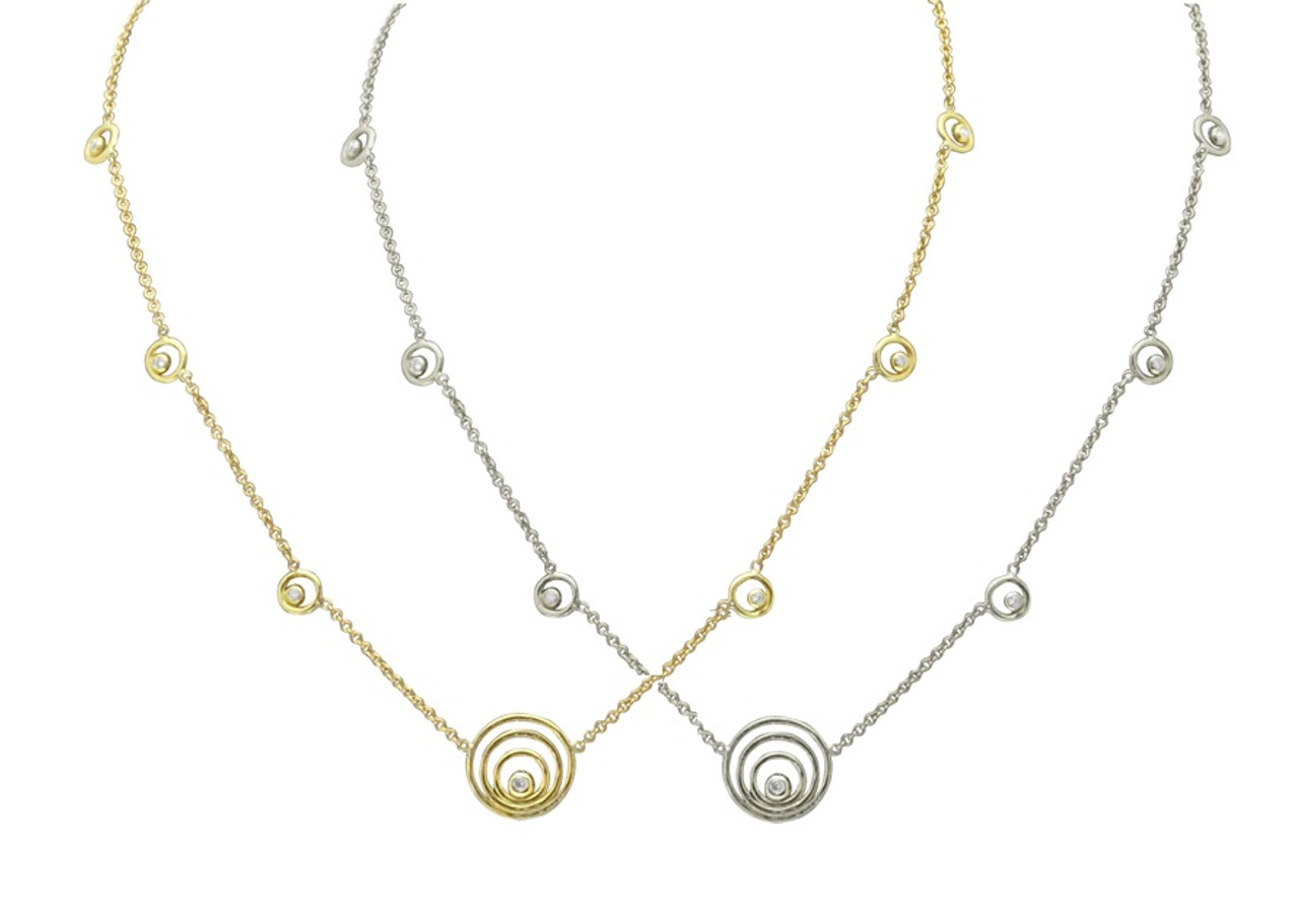 Karma ripples necklace- small -14K gold with diamonds
