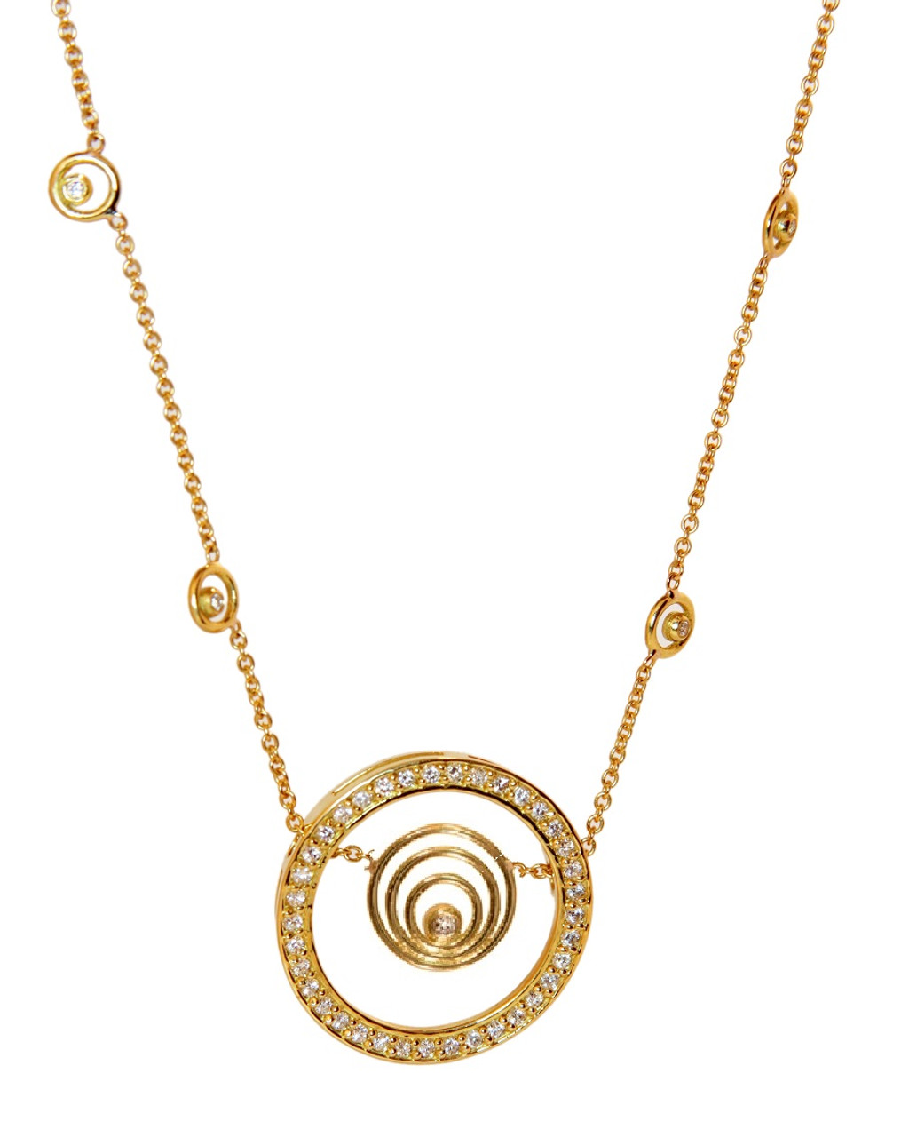 Karma hoop necklace- large- 14K gold with diamonds