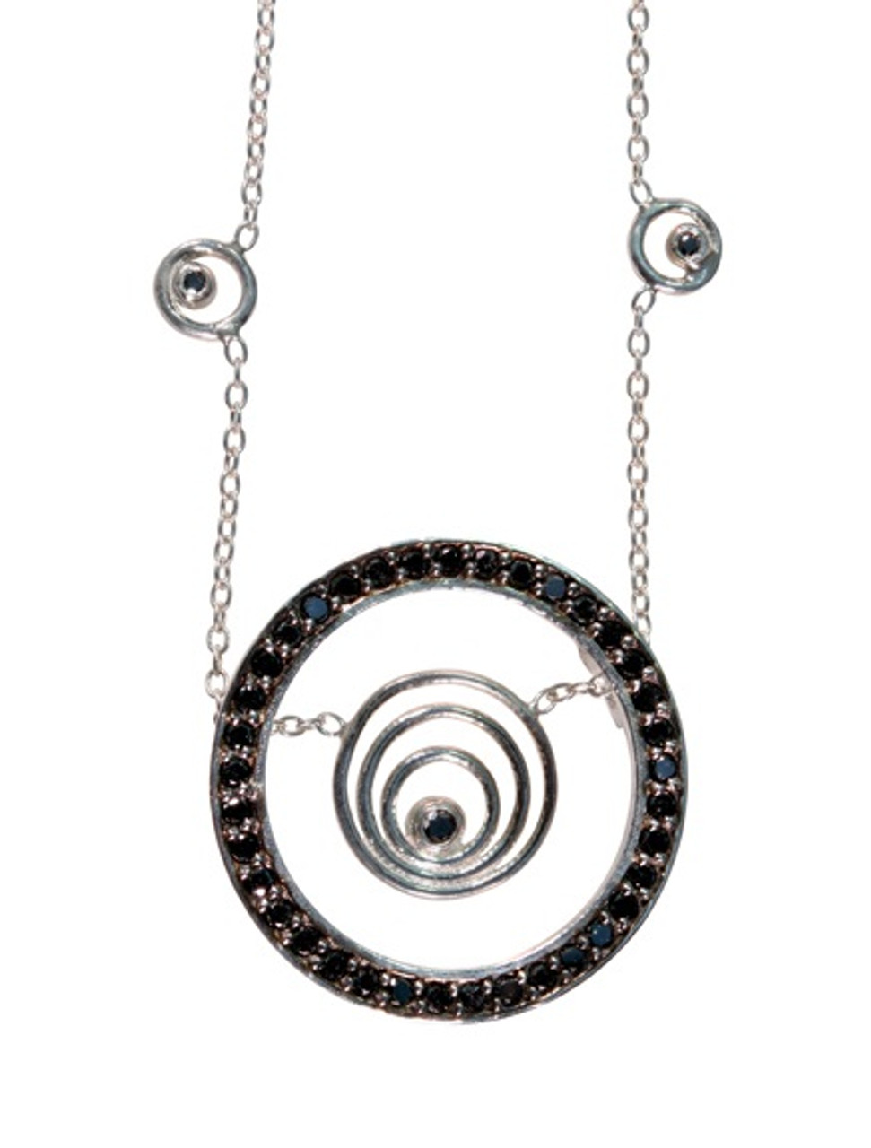 Karma hoop necklace- large- sterling silver with black diamonds