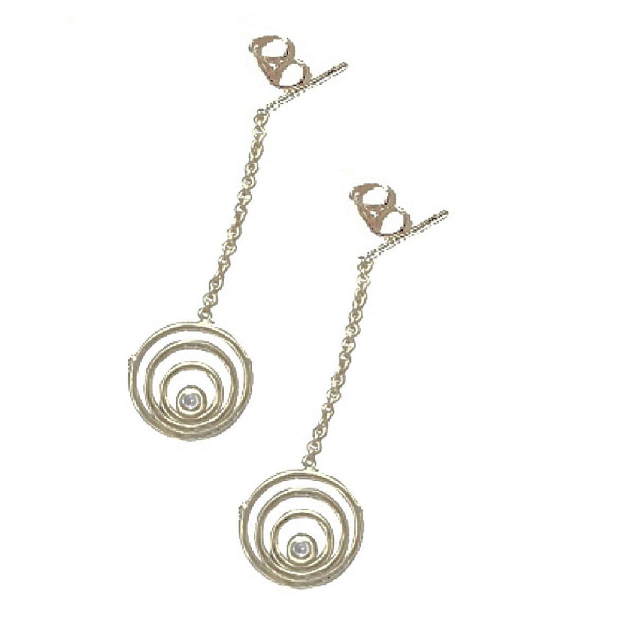 Karma Drop Earrings-Sterling silver with diamonds