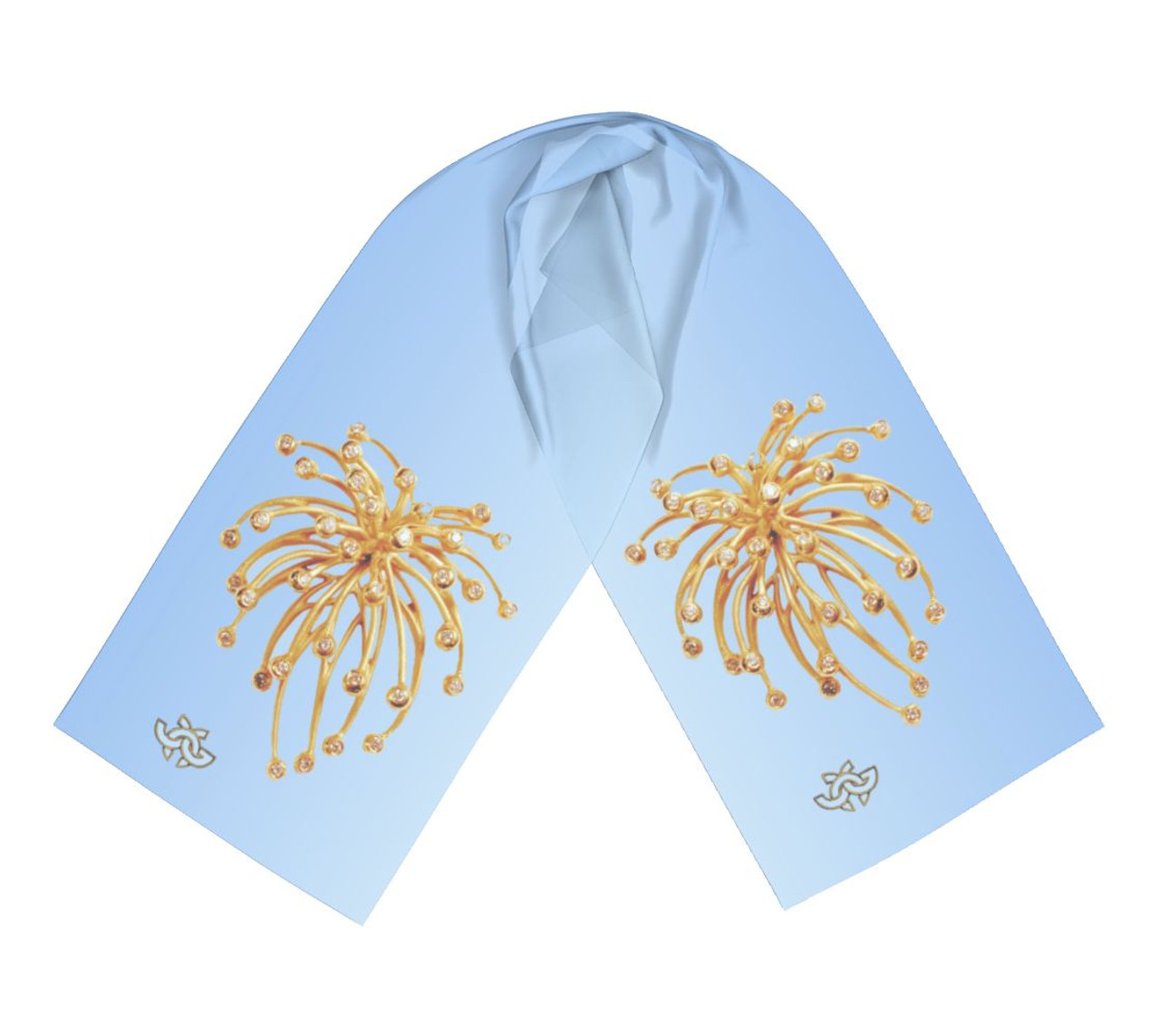 Fireworks scarf- gold and diamonds on sky blue