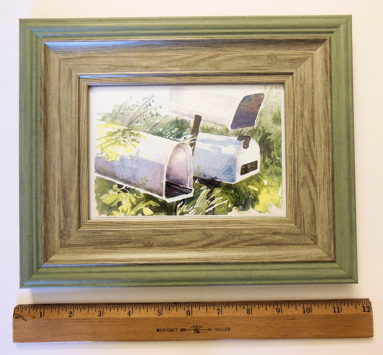 Home Sweet Home. Watercolor mailboxes.  Framed art