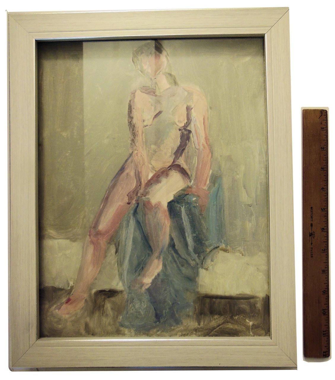 """Morning"" Nude Oil Painting, Tamara S. Gordon, Framed in Shadow Box"