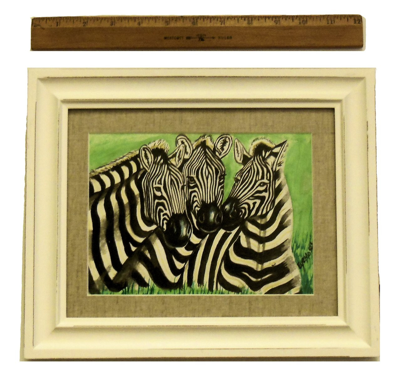 Three Zebras - Framed oil paint on paper.  Zimbabwe Collection
